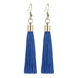 NEW! 💙 BLUE TASSEL GOLD-TONE DANGLE EARRINGS
